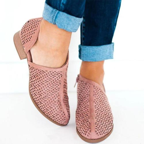 Women Low Heel PU Slip-On Shoes Hollow Chunky Heel Boots