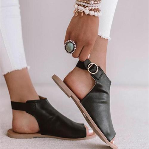 Ring Buckle Peep Toe Ankle Strap Flat Sandals
