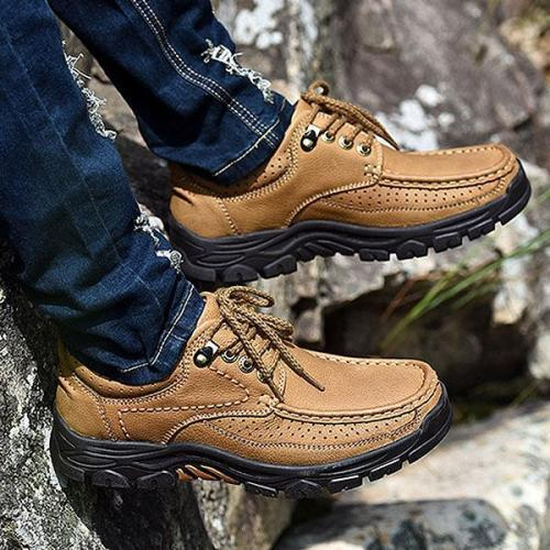 Mens Outdoor Genuine Leather Hiking Climbing Flat Shoes