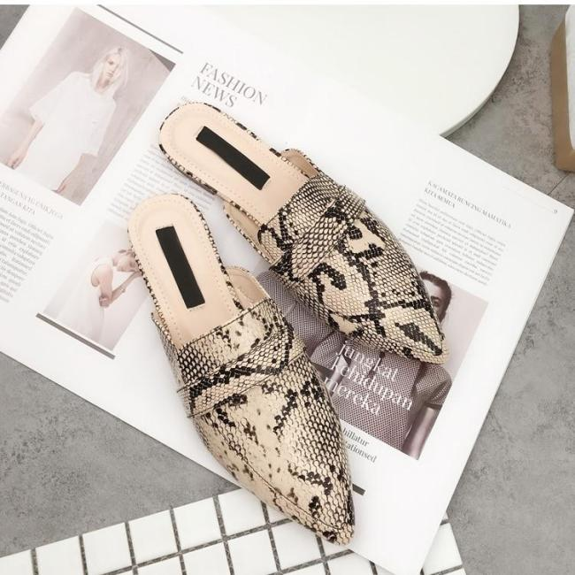 Sexy Leopard Flocked Slides Woman Flat Shoes Slip On Loafers Mules Flip Flops