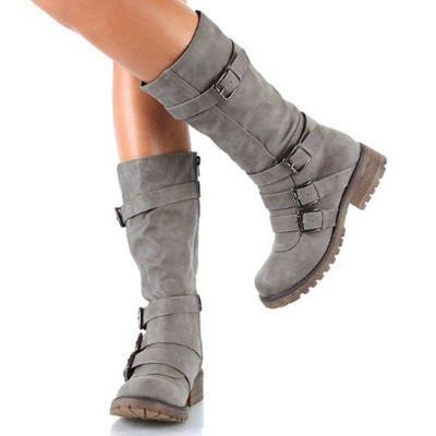Women Adjustable Buckle Comfy Mid-Calf Low Heel Boots