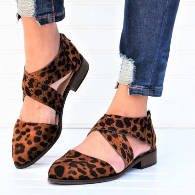 Tan Leopard Wing Crisscross Sandals