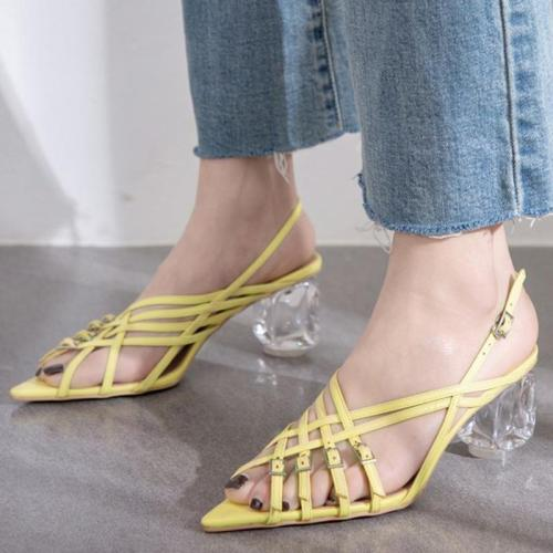 Pointed Toe Strange Chunky Heel Adjustable Buckle Summer Sandals