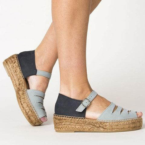 Color Block Slit Buckle Straw-Weaved Platform Peep Toe Sandals