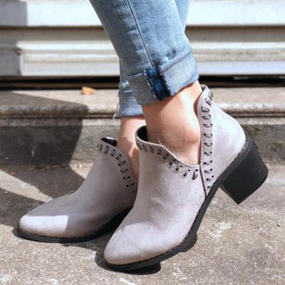 Plain  Chunky  Mid Heeled  Velvet  Point Toe  Casual Outdoor  Short High Heels Boots