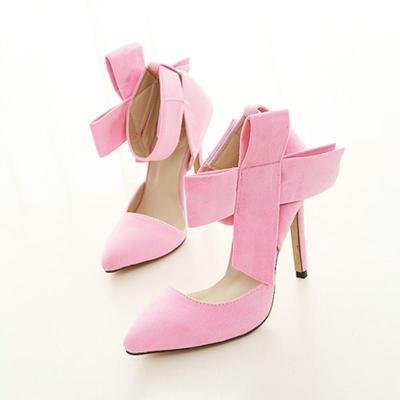 Elegant Women Big Bow Pointed Toe Stilettos