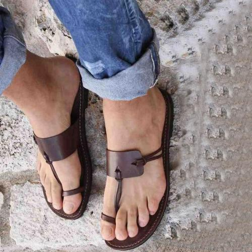 Plain Flat Peep Toe Casual Comfort Slippers Sandals