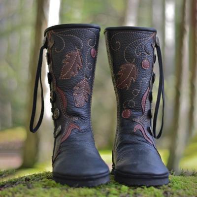 Women Black Artificial Leather Buckle Flat Heel Boots