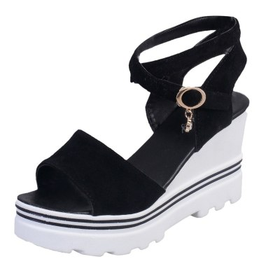 Women Summer Solid suede Pumps Platform wedge Sandals Roman Wedges Casual Sandals high heel sandals