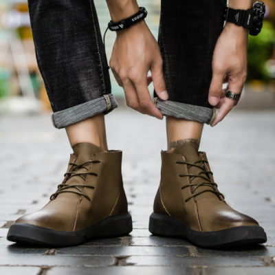 Autumn and winter leather high to help British wild Martin boots
