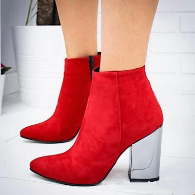 Plain Pointed Toe Chunky High-heel Short Boots