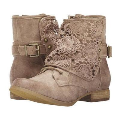 Women Casual Crunchy Lace Ankle Boots With Side Zipper