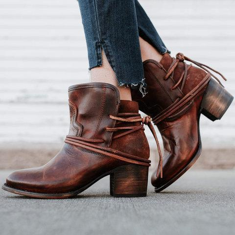 Vintage Low Heel Ankle Casual Boots