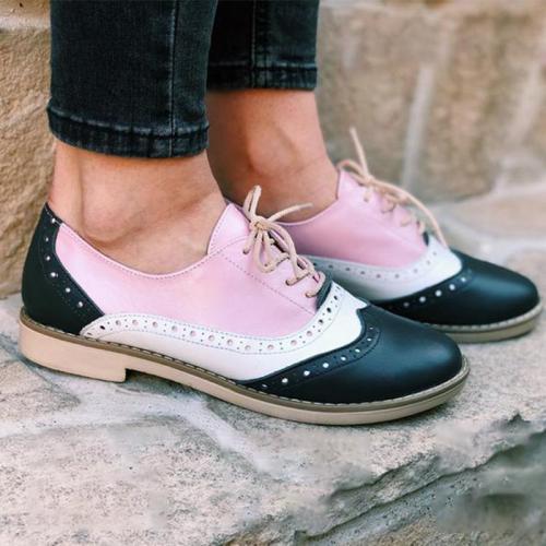 Color Block Laser Cut Flat Lace-Up Saddle Shoes