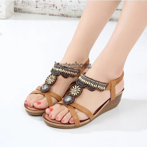 Ladies shoes new national style sandals women's Retro Rhinestone Beaded comfortable open toe sandals