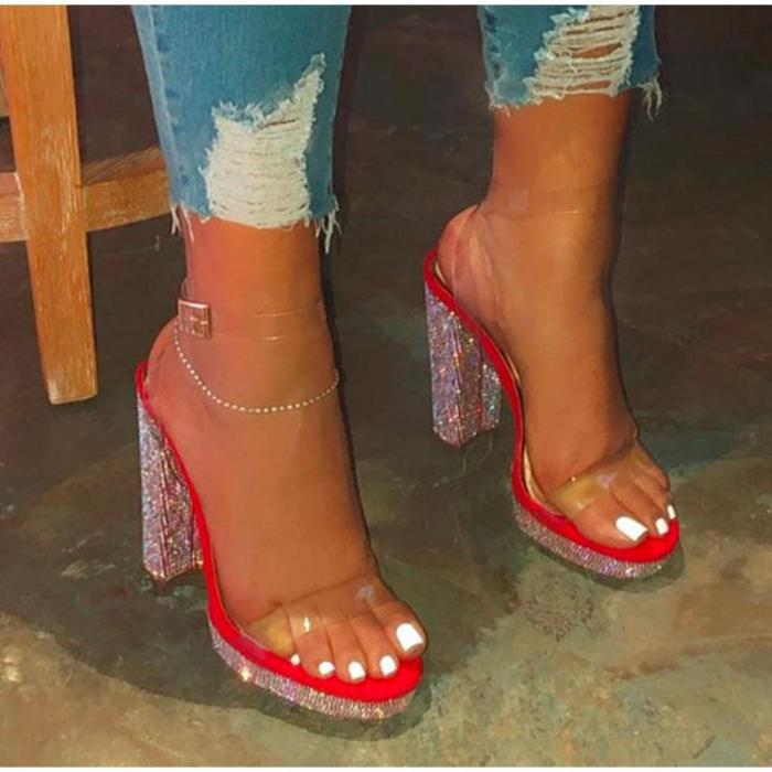 Sandals Rhinestone Thick High Heels Fashion Woman Shoes Ladies Buckle Open Toe