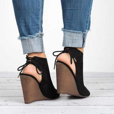 Women Large Size Lace-up Peep Toe Wedges Bootie