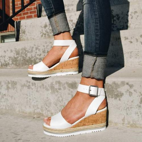 Fashion Adjustable Buckle High Heels Wedge Sandals