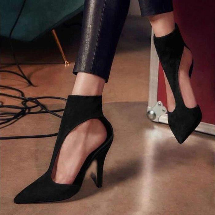 Black Suede Stiletto Heel Zipper Elegant Pumps