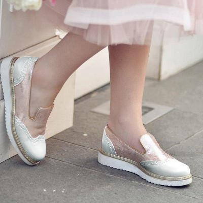 Color Block Platform Shoes Round Toe Slip-On Women'S Loafers