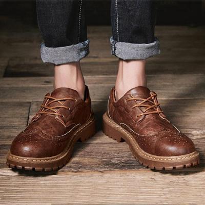 Mens Retro Microfiber Flat Shoes Lace-up Brogue Shoes