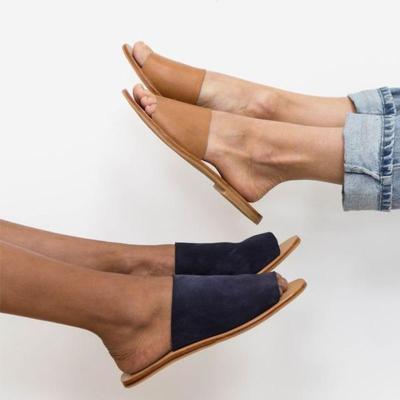Plain Velvet Chic Women Low Heel Strapless Slip-On Sandals
