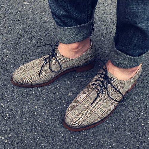 Men's vintage plaid casual shoes