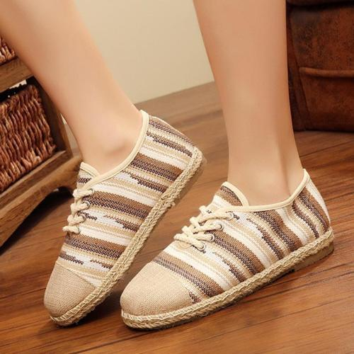Linen Stripe Flat Heel Lace Up Loafers