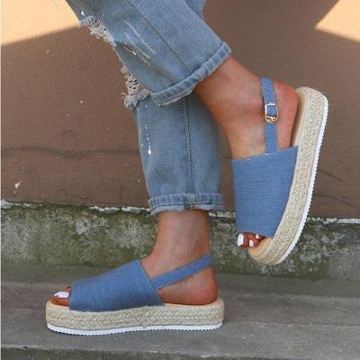 Women Canvas Platform Summer Espadrille Sandals
