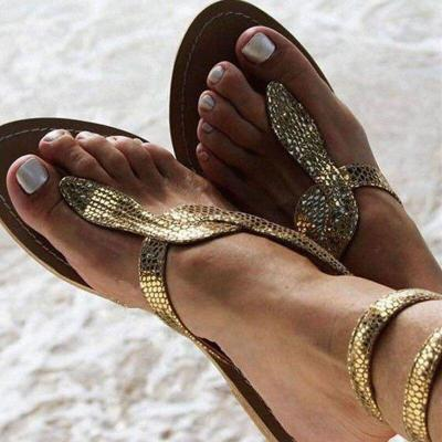 Women Flats Sandals New Summer Snake Ankle Strap Gladiator Sandals Bling Gold Beach Flat Shoes