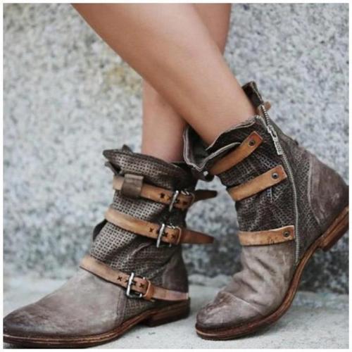 Women Casual Flat Heel  Buckle Boots