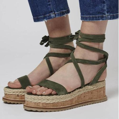 Lace-Up Wedge Heel Open Toe Cross Strap Plain Sandals