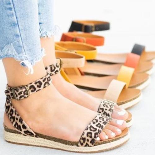 Women's PU Peep Toe Adjustable Buckle Espadrille Middle Chunky Heel Sandals
