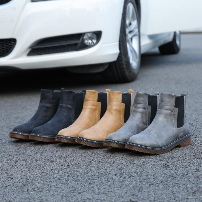 Women's fashion color matching round head Martin boots