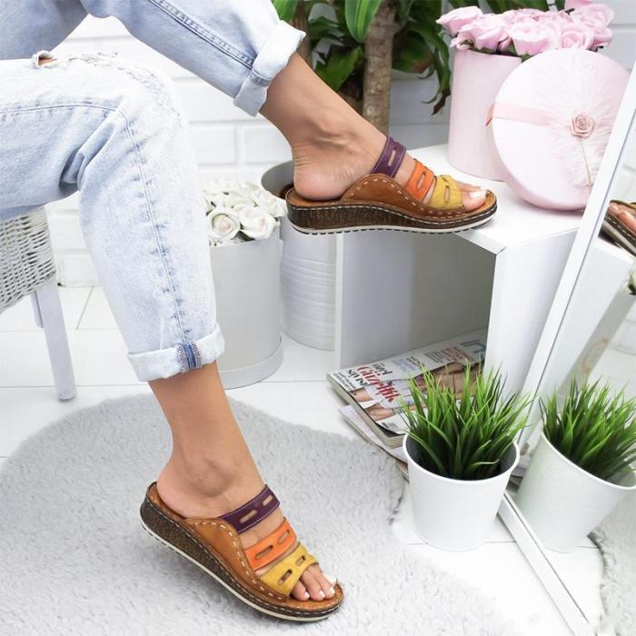 Multicolor Color Block Wedges Peep Toe Mule Sandals