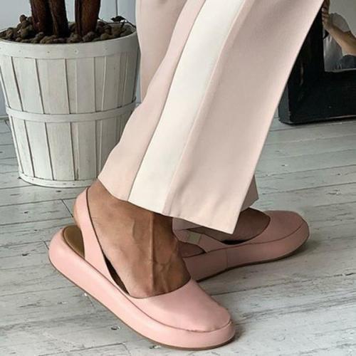 Women Round Toe Slide Pu Flat Heel Mule Women Sandals