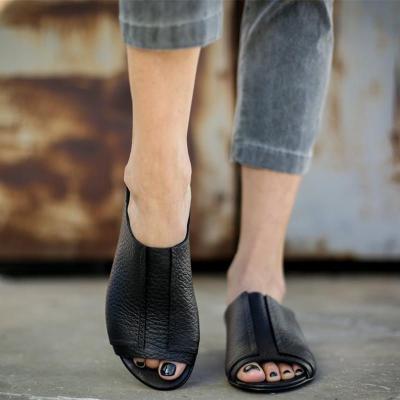 Chic Plain Black Split Joint Flat Slippers