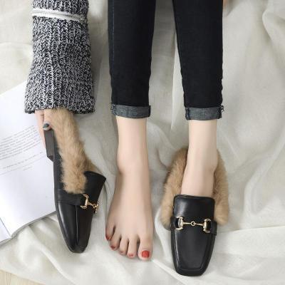 Women's Rabbit Hair Slippers Cozy People No Heels Women's Shoes In Summer