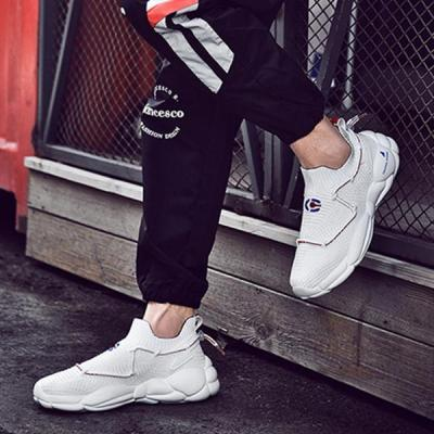 Casual Sportive Breathable Korean Style Flyknit Platform Shoes Men's Sneakers