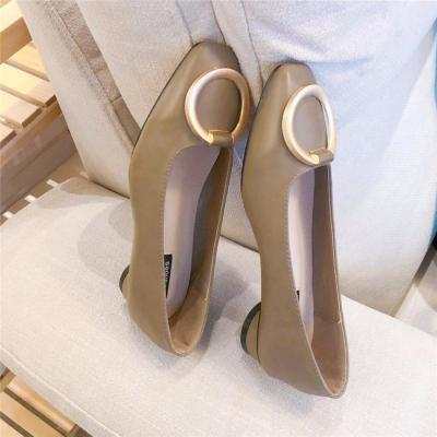 Vintage metal buckle square head single shoes