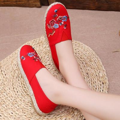 Women Canvas Loafers Casual Comfort Floral Embroidered Shoes