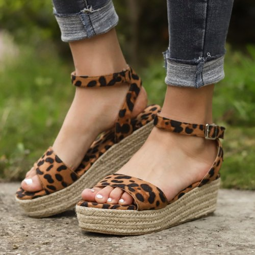 Women's PU Peep Toe Adjustable Buckle Wedge Sandals