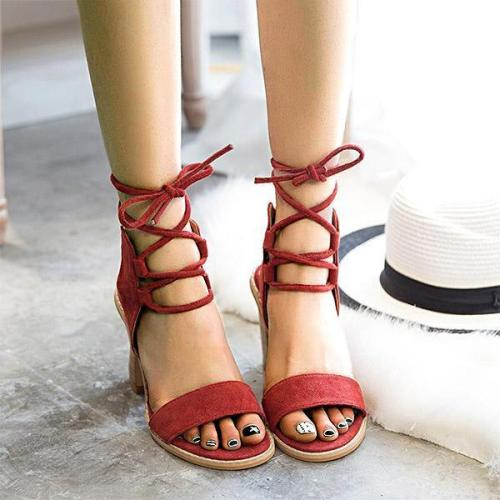 Women Sexy Open Toe Lace Up Chunky Heels Sandals