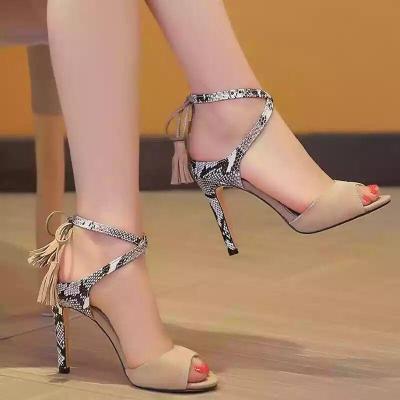 Summer Cross Strap Sandals Women High Heels Peep-Toe Shoes