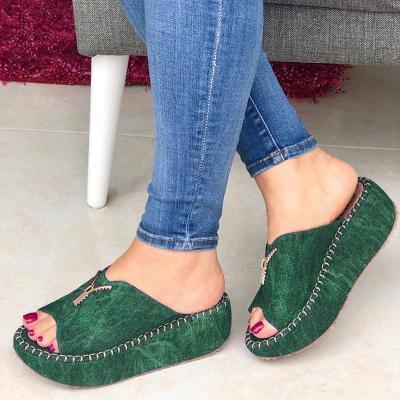 Women Casual Summer Slip On Zipper Wedge Sandals
