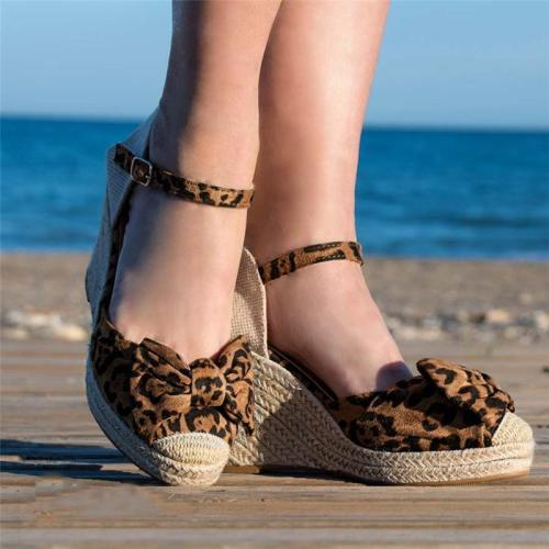 Fashion Bow Hemp Rope Wedge Sandals