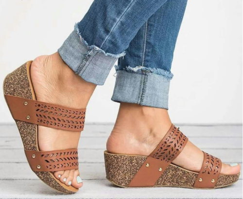 Women's PU Peep Toe Middle Wedge Heel Slippers