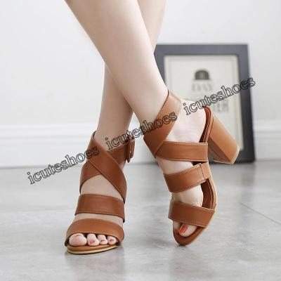 Women Sandals Chunky Heel Solid Color Fashion Summer