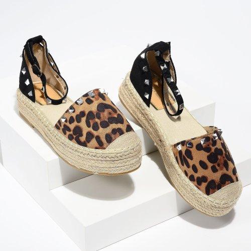 Beverly Studded Leopard Espadrille