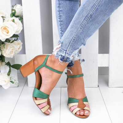 Color Block Strap Band Buckle High Chunky Sandals